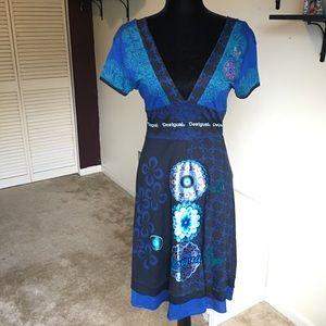 Desigual Royal Blue Kimono Style Cotton Dress